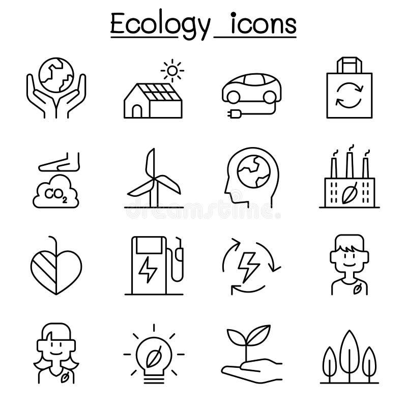 Экологичность, устойчивый дизайн, консервация, значок дизайна eco дружелюбный установила в тонкую линию стиль иллюстрация штока