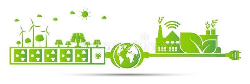 Экологичность фабрики, идеи энергии сохраняет зеленый цвет штепсельной вилки мировоззренческой доктрины иллюстрация вектора