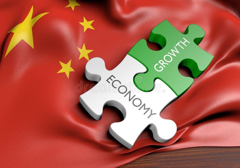 Экономика Китая и концепция роста финансового рынка, перевод 3D иллюстрация штока