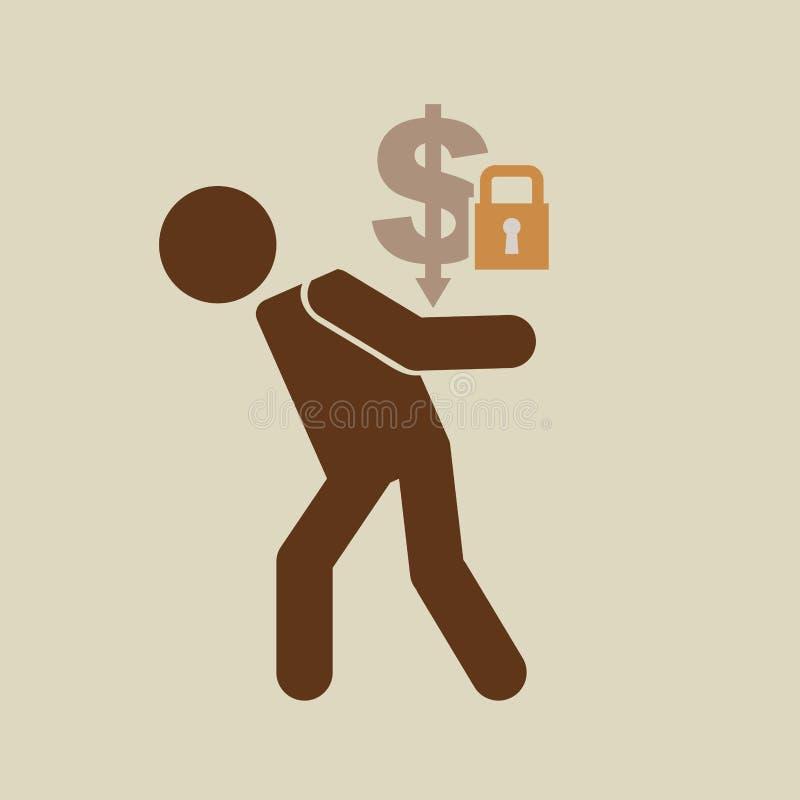 Экономика кризиса сохраняет дизайн значка концепции денег бесплатная иллюстрация