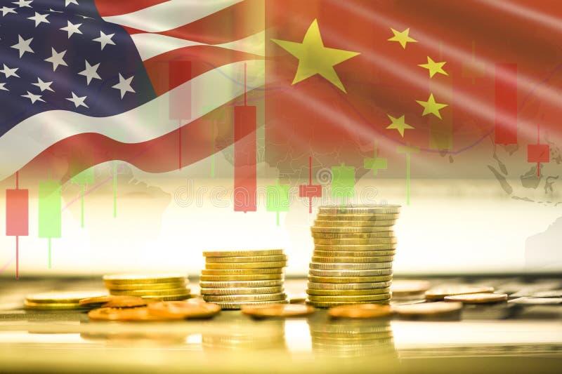 Экономика США Америка торговой войны и флаг Китая анализ обменом фондовой биржи предпосылки диаграммы подсвечника стоковая фотография