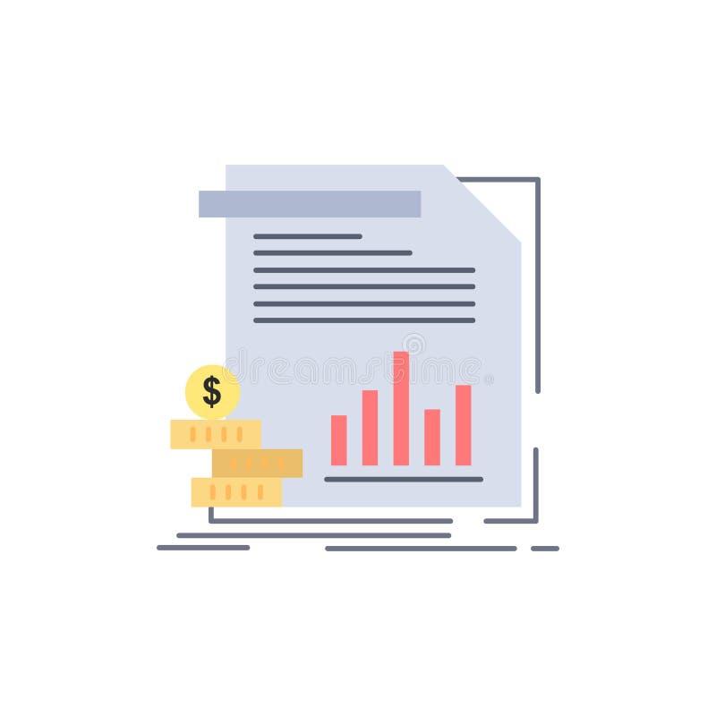 экономика, финансы, деньги, информация, вектор значка цвета отчетов плоский иллюстрация штока