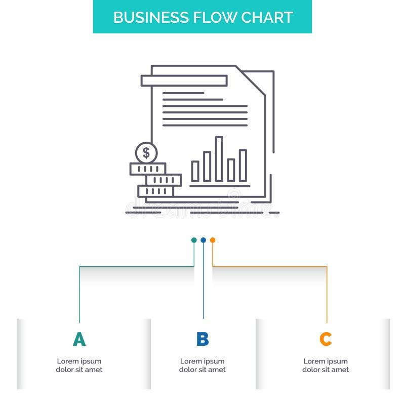 экономика, финансы, деньги, информация, дизайн графика течения дела отчетов с 3 шагами r иллюстрация штока