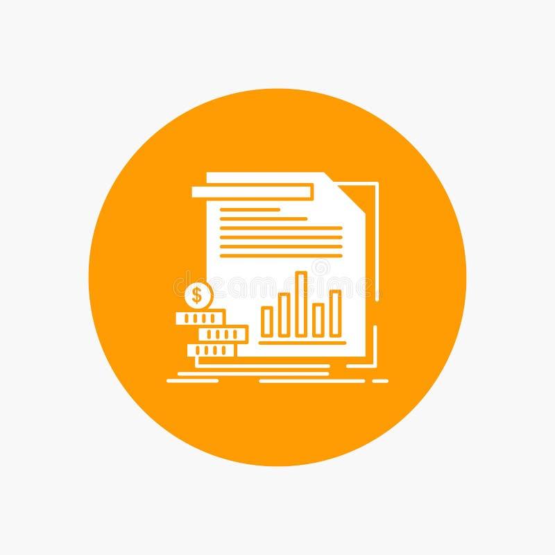 экономика, финансы, деньги, информация, значок глифа отчетов белый в круге r иллюстрация штока