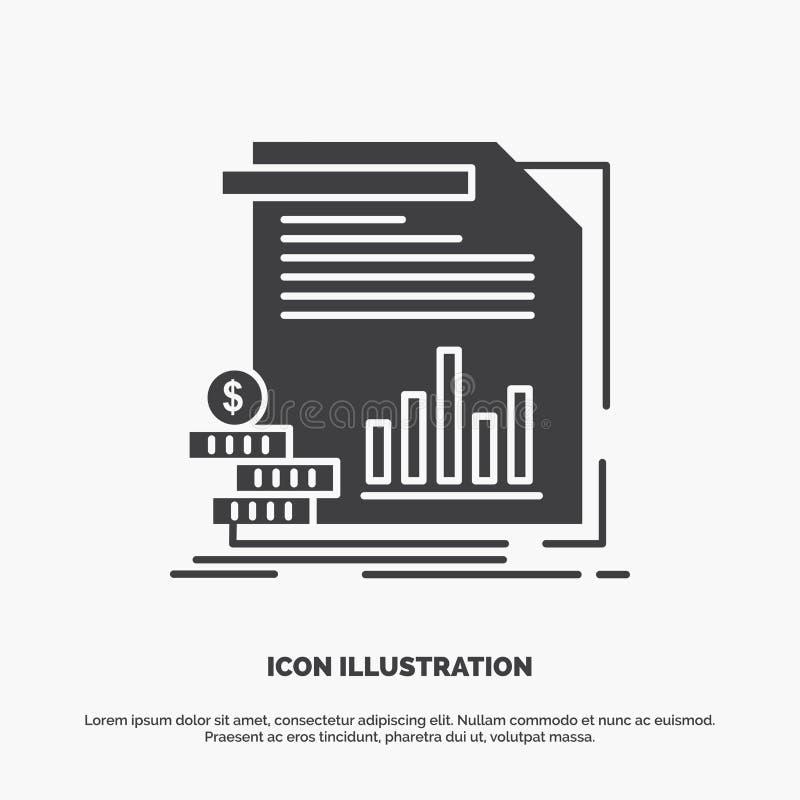 экономика, финансы, деньги, информация, значок отчетов r иллюстрация вектора