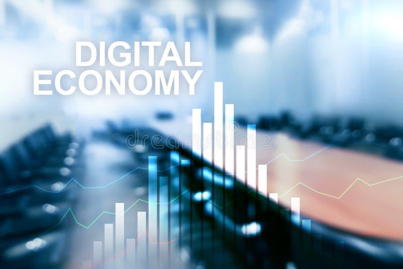 Экономика цифров, финансовая концепция технологии на запачканной предпосылке стоковое фото
