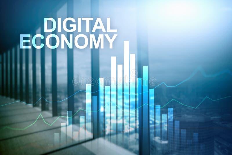 Экономика цифров, финансовая концепция технологии на запачканной предпосылке стоковые фото
