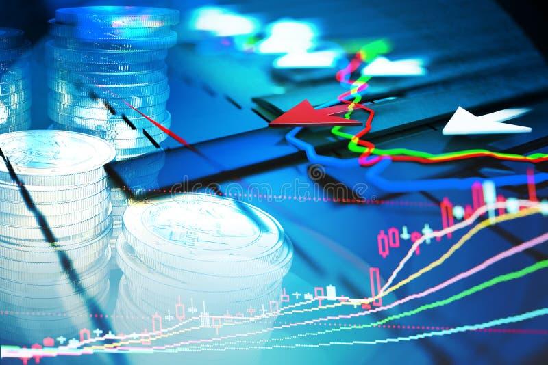 Экономические показатели и двигают вперед с стрелкой иллюстрация вектора