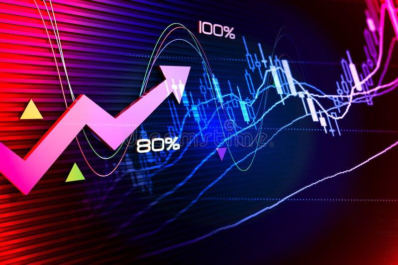 Экономическое развитие и стрелка иллюстрация вектора