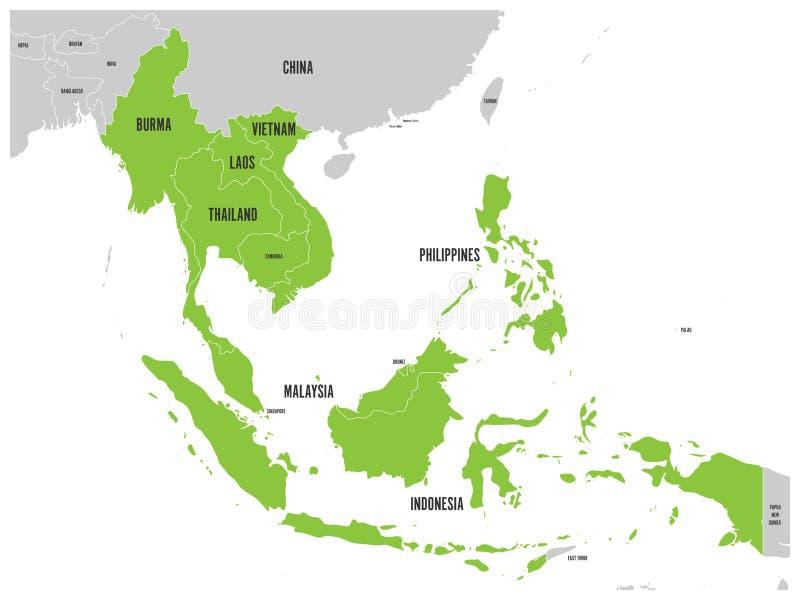 Экономическое сообщество АСЕАН, AEC, карта Серая карта с зелеными выделенными государство-членами, Юго-Восточной Азией вектор иллюстрация вектора
