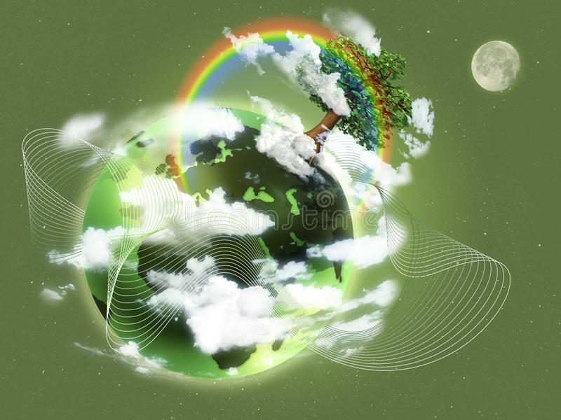 Экологическая иллюстрация концепции зеленой земли планеты Концепция новых жизни, рождения, второго рождения и надежды; экологично иллюстрация вектора