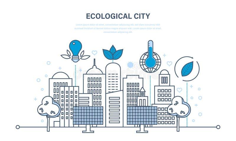 Экологическая концепция города Новая дружественная к эко технология, инфраструктура, сообщение, технологический прогресс бесплатная иллюстрация