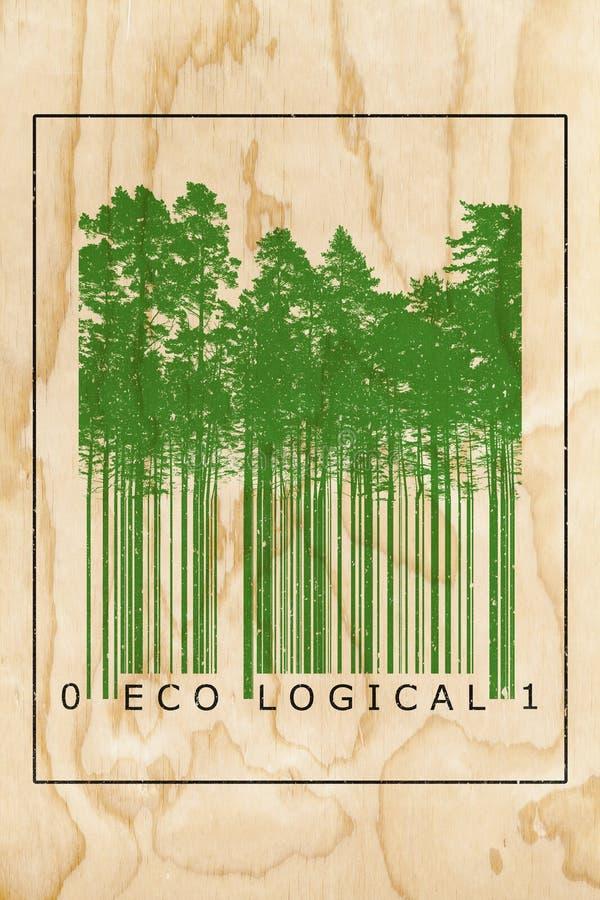 Экологическая концепция кода штриховой маркировки натурального продучта бесплатная иллюстрация