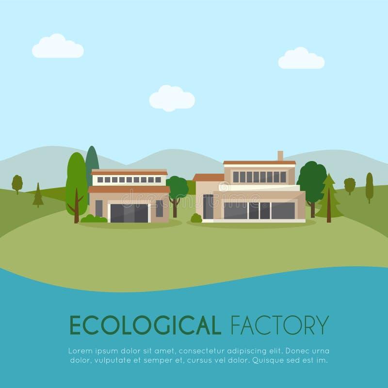 экологическая фабрика иллюстрация штока