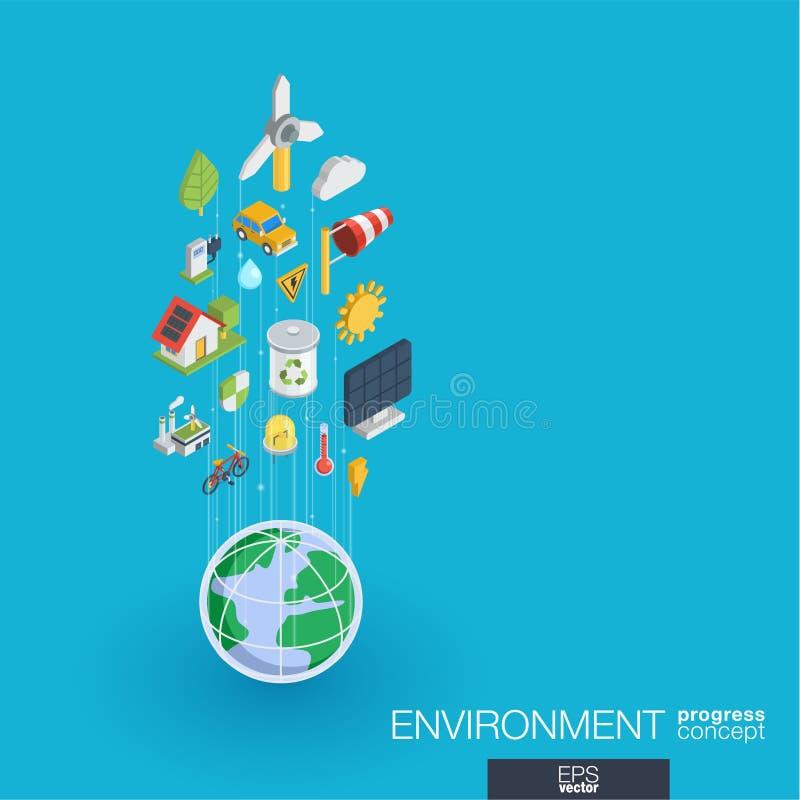Экологические интегрированные значки сети 3d Концепция роста и прогресса бесплатная иллюстрация