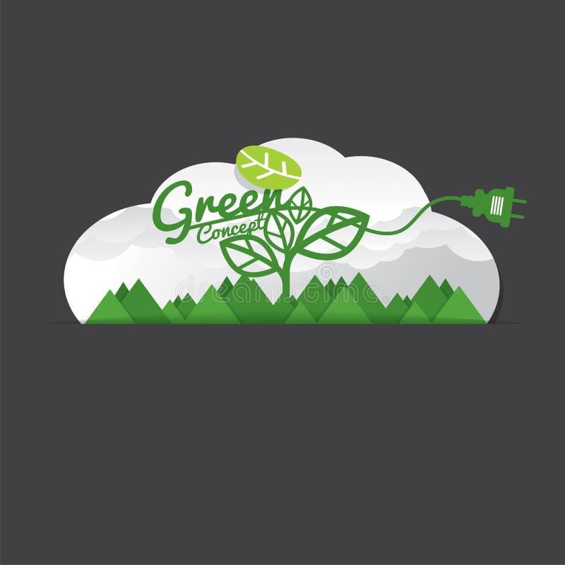 Экологически дружелюбная зеленая концепция иллюстрация вектора