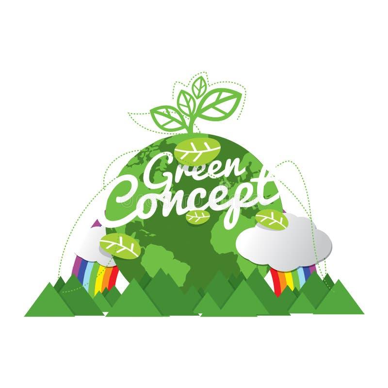 Экологически дружелюбная концепция зеленого цвета планеты иллюстрация штока