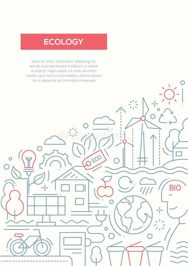 Экологичность - линия шаблон A4 плаката брошюры дизайна иллюстрация вектора