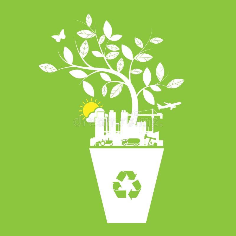 Экологичность и рециркулирует ярлык значков иллюстрация штока
