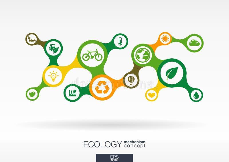 экологичность Предпосылка роста абстрактная с соединенным metaball и интегрированными значками иллюстрация вектора