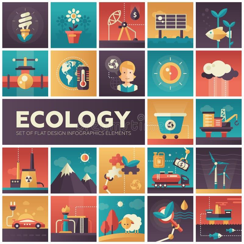Экологичность - современные плоские значки isquare дизайна иллюстрация вектора