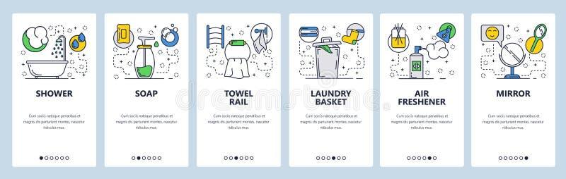 Экраны вебсайта onboarding Аксессуары Bathroom, ливень, распределитель мыла и дезодорант Шаблон знамени вектора меню для бесплатная иллюстрация