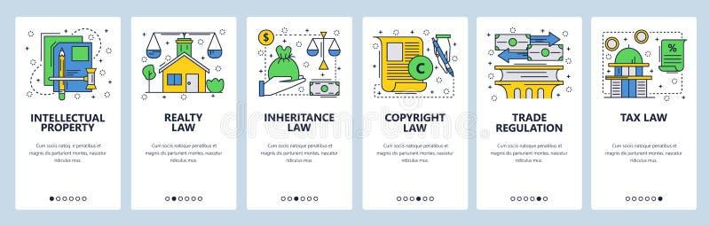 Экраны вебсайта onboarding Значки закона, авторское право, интеллектуальная собственность, торговля, налоги и финансовый закон Ве иллюстрация штока