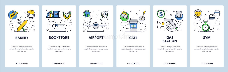 Экраны вебсайта onboarding Значки пекарни, bookstore, аэропорта, кафа, бензоколонки и спортзала Шаблон знамени вектора меню бесплатная иллюстрация