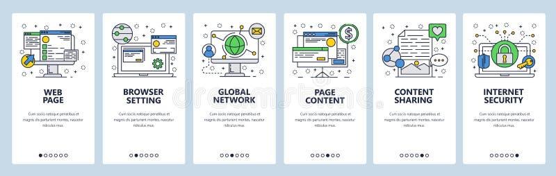 Экраны вебсайта onboarding Публикация интернет-браузера, глобальной вычислительной сети и содержания Шаблон знамени вектора меню  иллюстрация штока