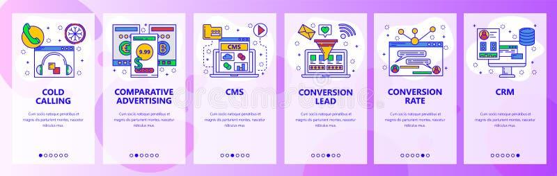 Экраны вебсайта onboarding Центр телефонного обслуживания, CMS, системы CRM, конверсионный курс Шаблон знамени вектора меню для в бесплатная иллюстрация