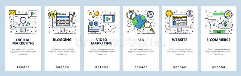Экраны вебсайта onboarding SEO, цифровой маркетинг, онлайн покупки, видео Шаблон знамени вектора меню для вебсайта и иллюстрация штока
