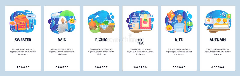 Экраны для подключения мобильных приложений прогноз погоды, осенний дождь, женщина с зонтиком, горячий чай и пикник на открытом в иллюстрация штока