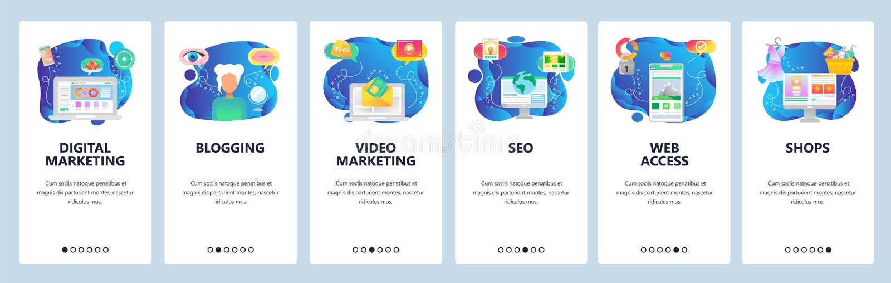 Экраны для подключения мобильных приложений Цифровой маркетинг, ведение блогов, маркетинг видео и электронной почты, интернет-маг бесплатная иллюстрация