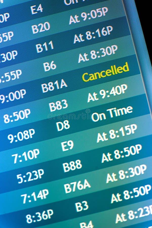 Экраны информационного дисплея полета стоковая фотография rf