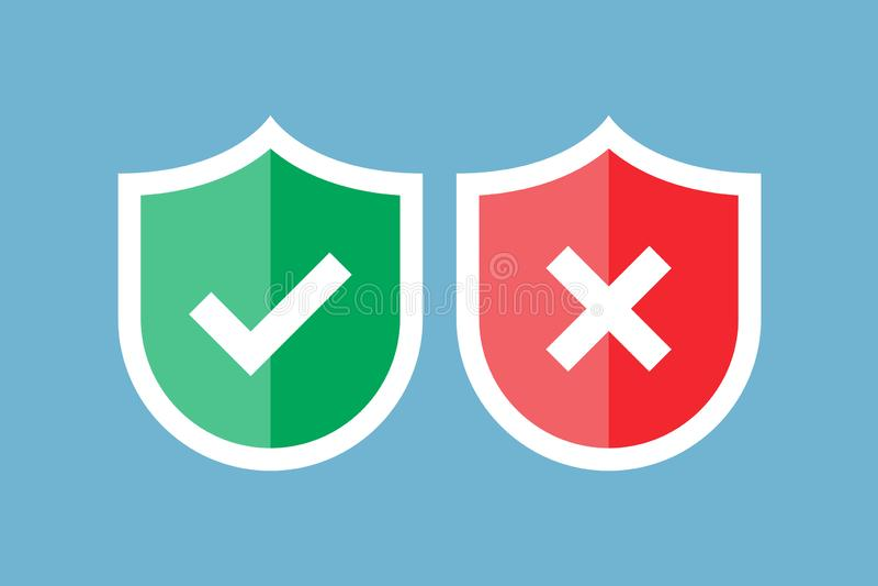 Экраны и контрольные пометки Красный и зеленый экран с контрольной пометкой и меткой x Одобрено и излучено Защита, безопасность иллюстрация штока