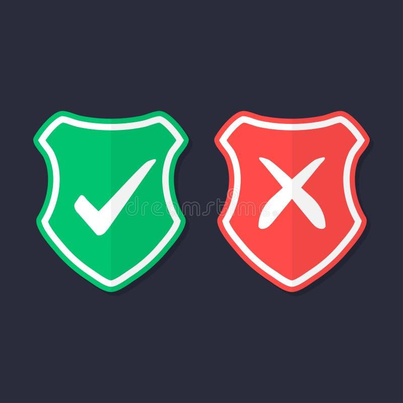 Экраны и контрольные пометки установленных значков Красный и зеленый экран с контрольной пометкой и меткой x Защита, безопасность бесплатная иллюстрация