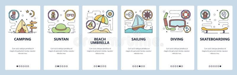 Экраны мобильного приложения onboarding Досуги лета, каникулы пляжа, перемещение и располагаться лагерем, плавание, подныривание  иллюстрация штока