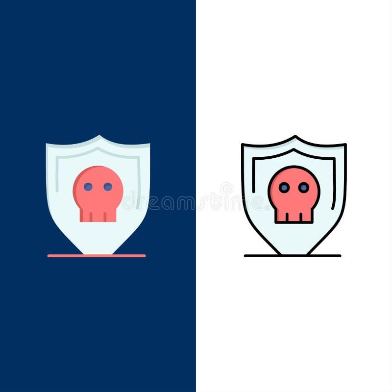 Экран, безопасность, безопасные, простые значки Квартира и линия заполненный значок установили предпосылку вектора голубую иллюстрация вектора