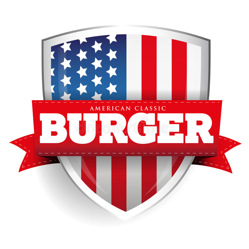 Экран бургера винтажный с флагом США иллюстрация штока