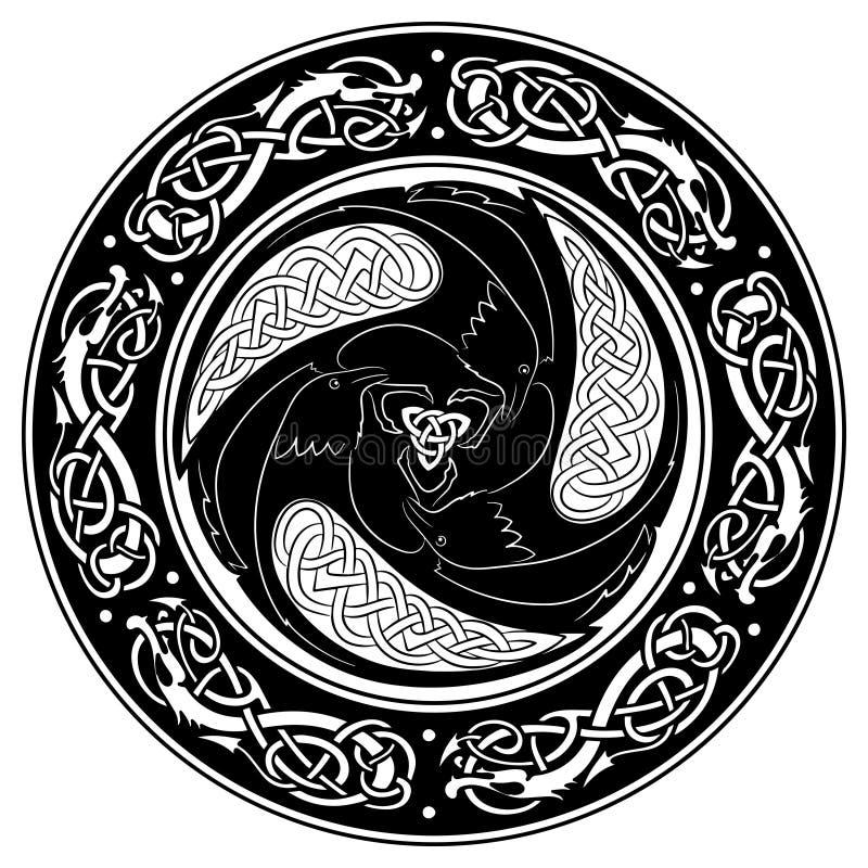 Экран Викинга, украшенный с скандинавской картиной и воронами бога Odin иллюстрация вектора
