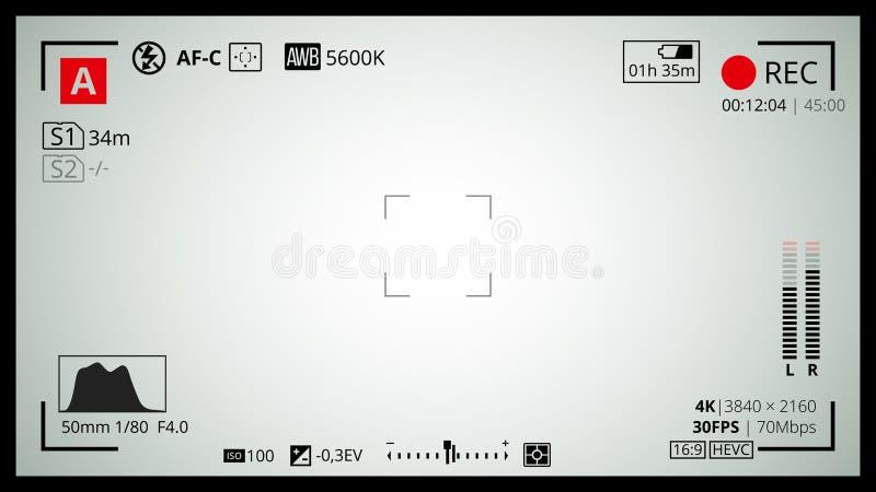 Экран видоискателя камеры иллюстрация вектора