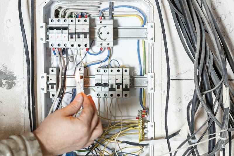 Экран в стене дома неправильное соединение, автоматическое распределение, провода запутано приведет к короткому замыканию и огню стоковое фото rf