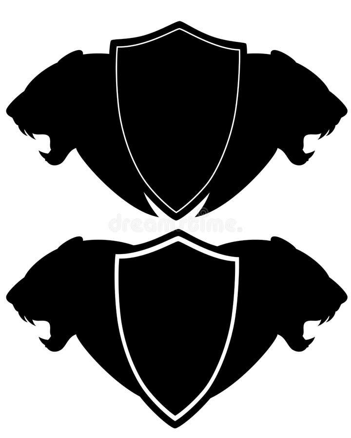 Экран геральдики с черными головами льва профиля бесплатная иллюстрация