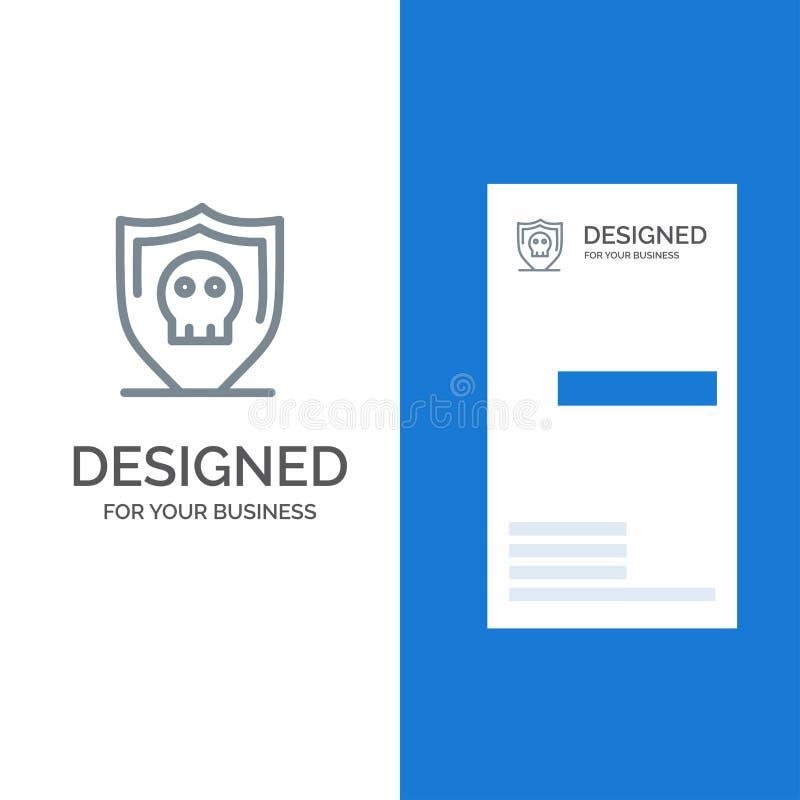 Экран, дизайн безопасностью, безопасным, простыми серые логотипа и шаблон визитной карточки иллюстрация штока