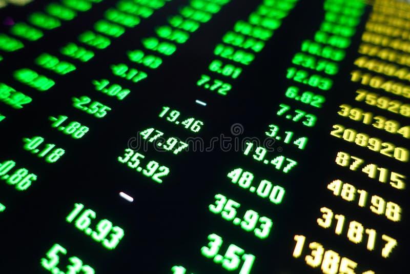 Экран зеленого цвета цены торговой операции фондовой биржи стоковые фотографии rf