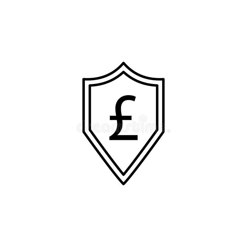 Экран, значок фунта Элемент иллюстрации финансов Знаки и значок символов можно использовать для сети, логотипа, мобильного прилож иллюстрация вектора