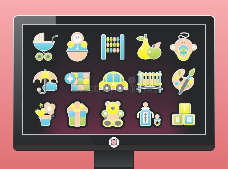 экран икон младенца красивейший иллюстрация вектора