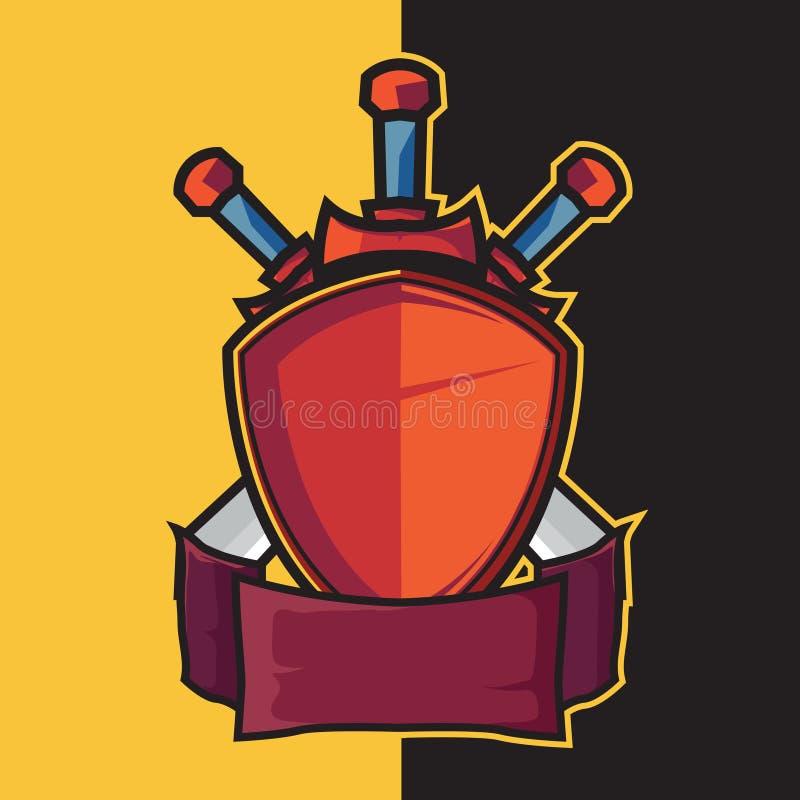 Экран и шпага значка для элементов дизайна логотипа esport бесплатная иллюстрация