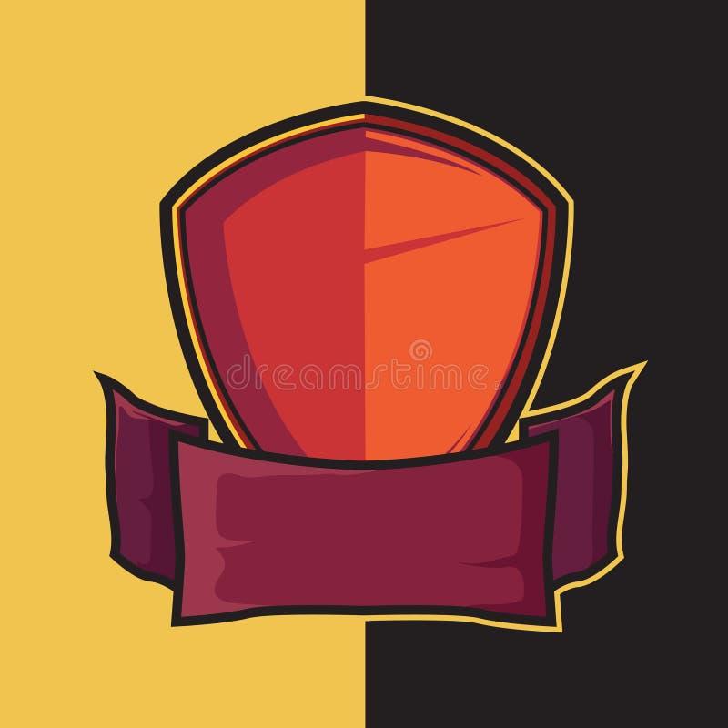 Экран и шпага значка красные для дизайна логотипа esport иллюстрация вектора
