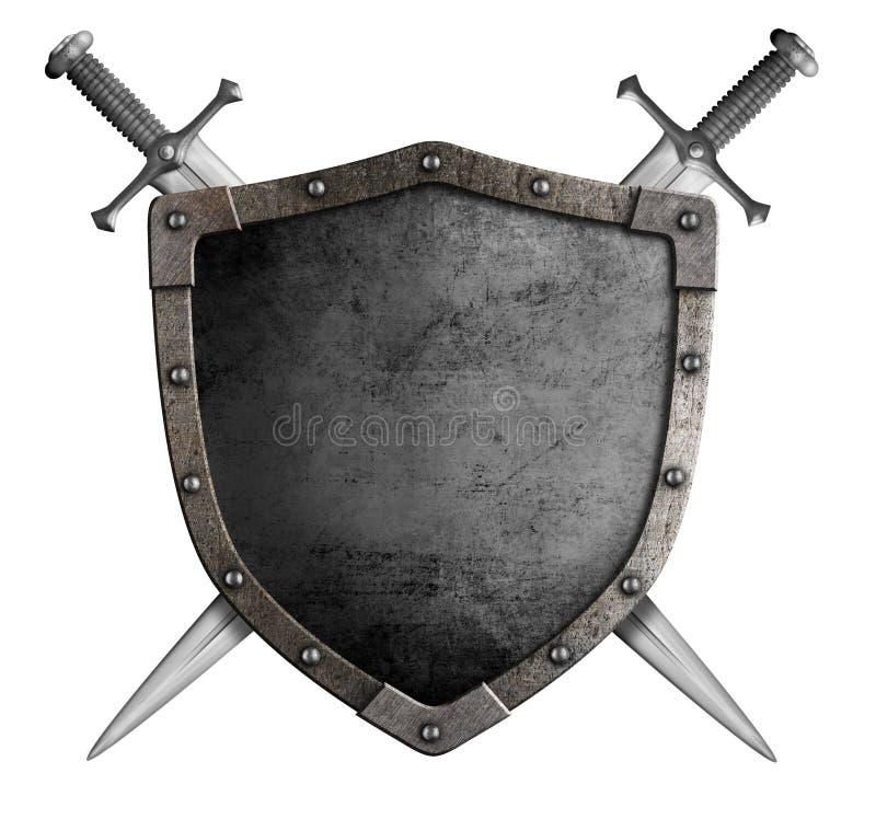 Экран и шпага рыцаря герба средневековые стоковые изображения